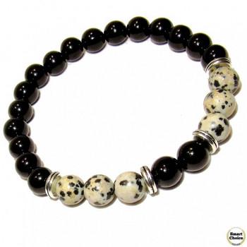 Мъжка гривна от естествени камъни Оникс и Яспис - DM-2450