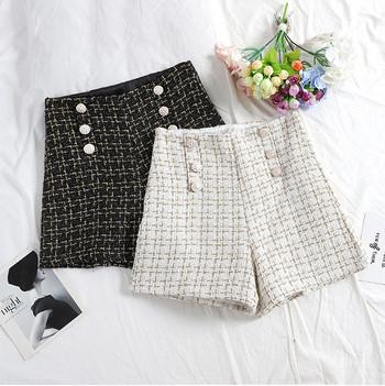 Стилни дамски къси панталони с висока талия и копчета