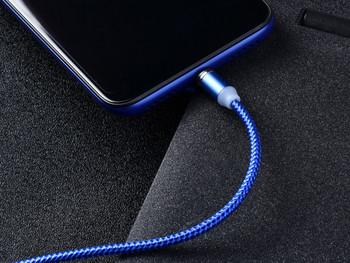 Data кабел за бързо зареждане със сменящ се  магнитен накрайник Type C, Micro USB и Lighting