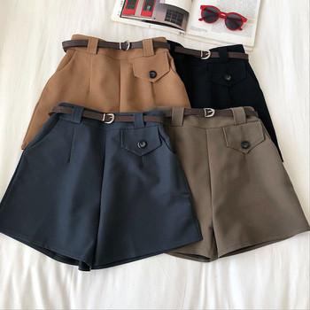 Къси дамски панталони ретро стил с колан и висока талия