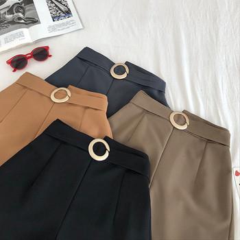 Къси дамски панталони широк модел с колан
