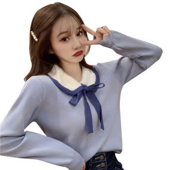 Модерна дамска блуза в три цвята с връзки