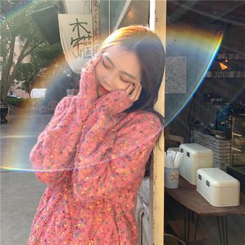 Дамски ежедневен пуловер в три цвята дълъг модел