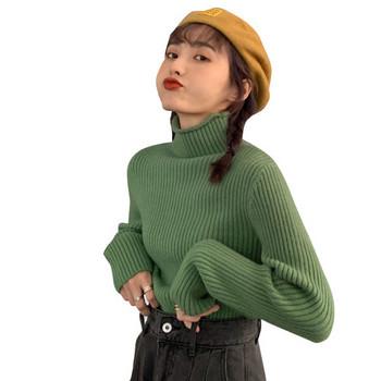 Дамска ежедневна блуза в няколко цвята с висока яка
