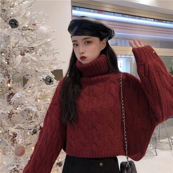Актуален дамски пуловер с висока яка в бял и червен цвят