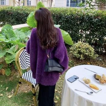 Дамски актуален дълъг пухен пуловер в лилав цвят