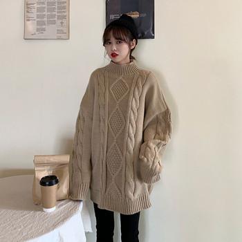 Модерен дамски сълъг пуловер с полувисока яка в два цвята