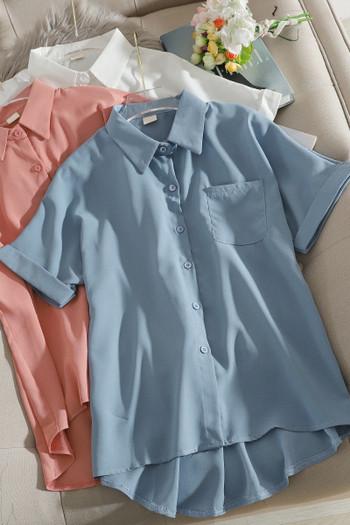 Ежедневна дамска риза с класическа яка и джоб
