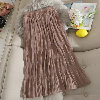 Еластична дълга дамска пола с висока талия от плисиран шифон