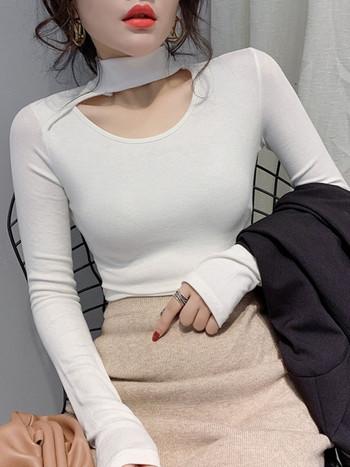 Ежедневна дамска блуза от тънко плетиво с дълъг ръкав в червен,син,бял,черен и зелен цвят