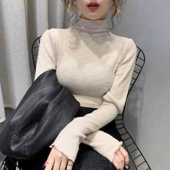 Дамска блуза Slim модел с висока яка в розов,бял и черен цвят