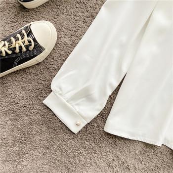 Стилна дамска риза от шифон с панделка на яката и дълъг ръкав в бял цвят