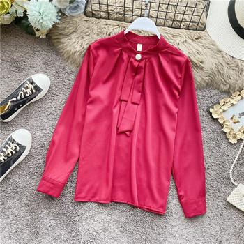 Дамска модерна пролетна риза с ниска яка в бял,син,червен,жълт,розов и черен цвят