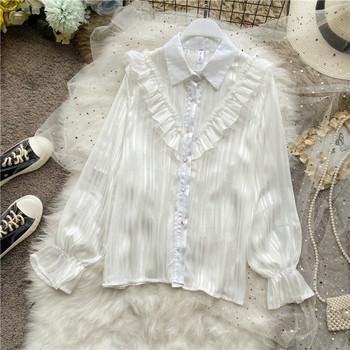 Дамска риза с класическа яка и къдри в бежов,бял и черен цвят