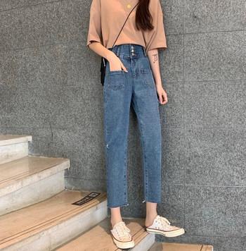 Ежедневни дамски дънки с висока талия и джобове