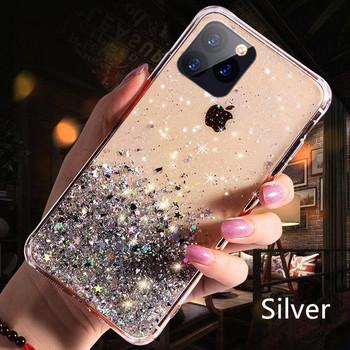 Силиконов калъф с лъскави частици за Iphone 11 Pro Max