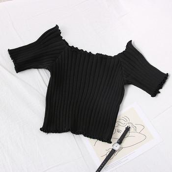 Нов модел дамска блуза с овално деколте и къс ръкав