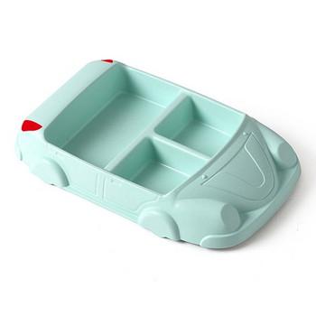 Креативна пластмасова чиния с три разделения във формата на кола