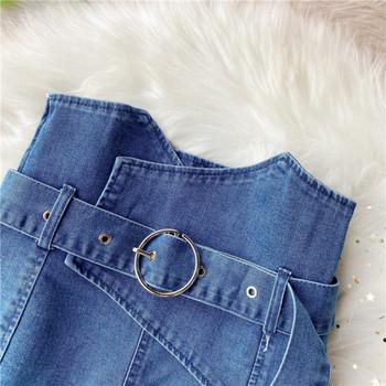 Модерни дамски къси дънки с колан и висока талия