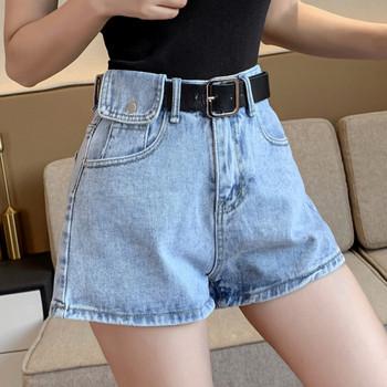 Широки дамски дънкови къси панталони с висока талия
