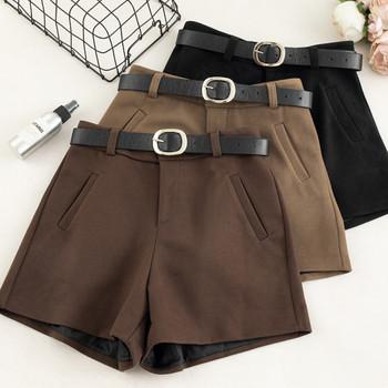 Къси зимни панталони с висока талия и колан в кафяв и черен цвят