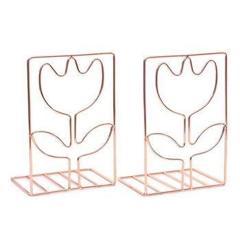 Метална поставка за книги и списания във правоъгълна форма с дизайн цвете