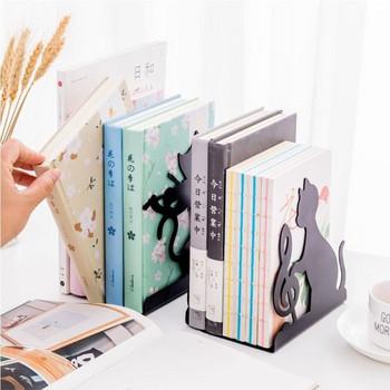 Метална поставка за книги и списания с дизайн на коте и ключът сол