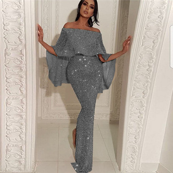 Официална дамска дълга рокля с лъскав ефект и голи рамене в сив,златист и сребрист цвят