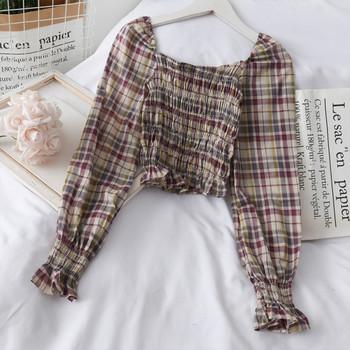 Модерна дамска карирана блуза с квадратно деколте