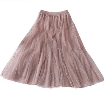 Модерна дамска пола от тюл с висока талия