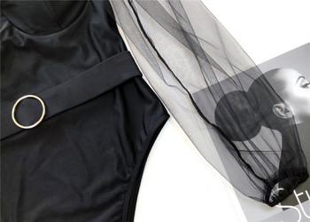 Модерен цял бански костюм с елемент мрежа и колан в черен цвят