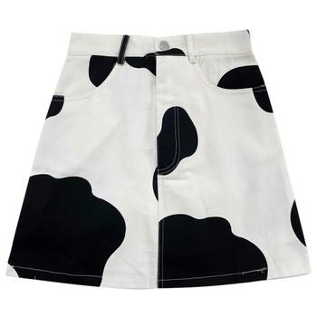 Къса дамска пола с висока талия и джобове