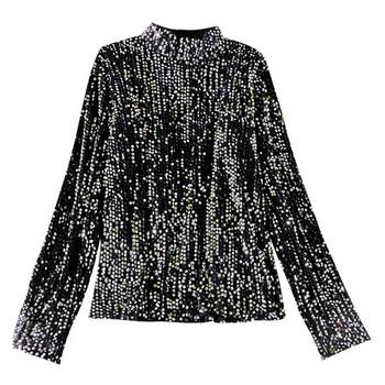 Модерна дамска блуза с пайети и полу-висока яка
