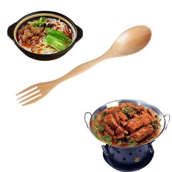 Креативна дървена лъжица-вилица за хранене подходяща за салати,плодове и други в кафяв цвят