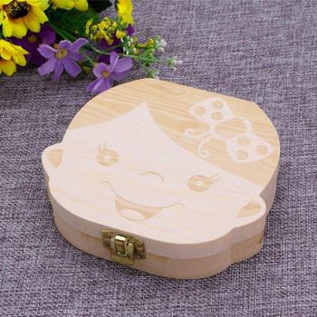 Дървена кутия за съхранение на млечни зъби за момиче
