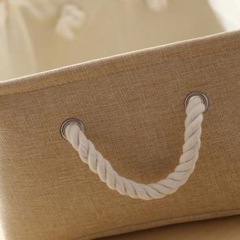 Водоустойчива текстилна кутия с плетени дръжки подходяща за съхранение на малки вещи