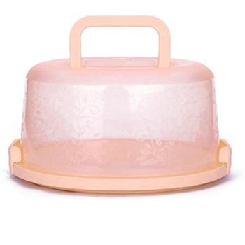 Пластмасова кутия в кръгла форма с дръжка подходяща за сладкиши