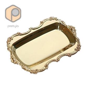 Многофункционално метално плато с правоъгълна форма подходящо за десерти