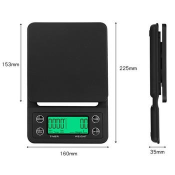 Черна кухненска везна с 4 нехлъзгащи се подложки и LCD дисплей