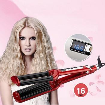 Керамична ретро преса за коса с три тръби и LCD дисплей показващ температурата