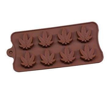 Кафява силиконова форма подходяща за осем броя сладки, бисквити или бонбони