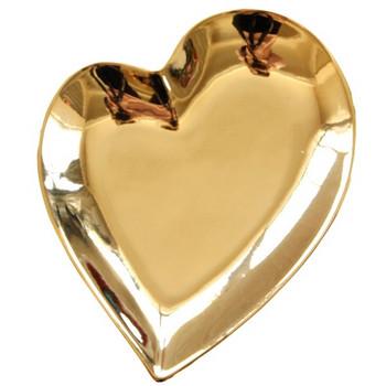 Златиста чиния от керамика във формата на сърце