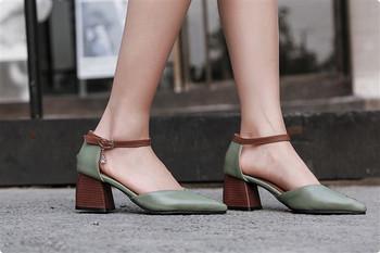 Нов модел пролетно-летни сандали от еко кожа с нисък дебел ток