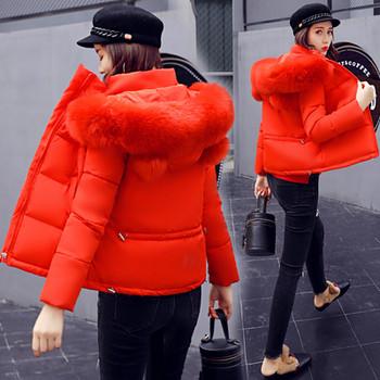 Спортно-елегантно дамско яке в няколко цвята с качулка с пух